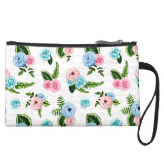 Blue X Pink Flowers on White #2 Suede Wristlet