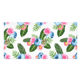 Blue X Pink Flowers on White Card