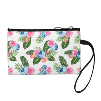 Blue X Pink Flowers on White Coin Purse
