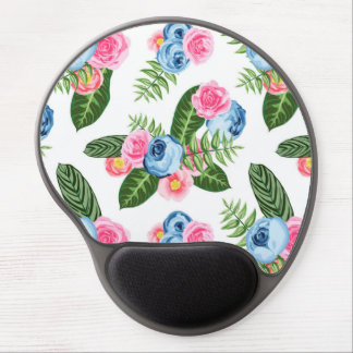 Blue X Pink Flowers on White Gel Mouse Pad