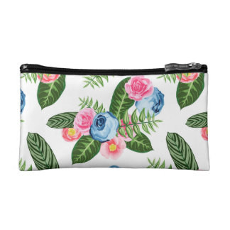 Blue X Pink Flowers on White Makeup Bag