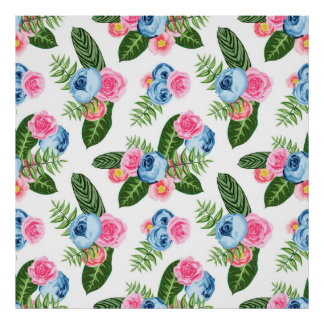 Blue X Pink Flowers on White Poster