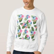 Blue X Pink Flowers on White Sweatshirt