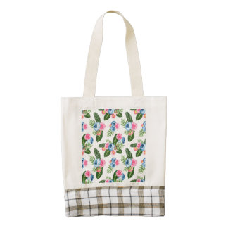 Blue X Pink Flowers on White Zazzle HEART Tote Bag