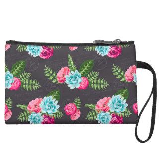 Blue X Pink Flowers Suede Wristlet Wallet