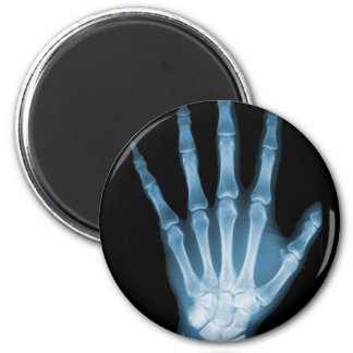 Blue X-ray Skeleton Hand 2 Inch Round Magnet