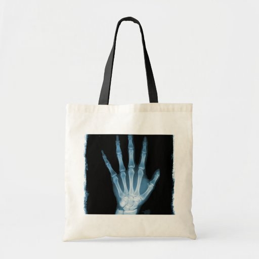 Blue X-ray Skeleton Hand Canvas Bags