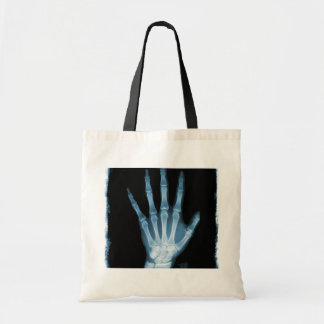 Blue X-ray Skeleton Hand Tote Bag