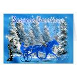 Blue Xmas Harness Horse Card