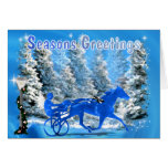 Blue Xmas Harness Horse Greeting Cards