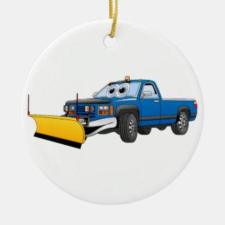 Blue Y Pick Up Snow Plow Cartoon Ceramic Ornament