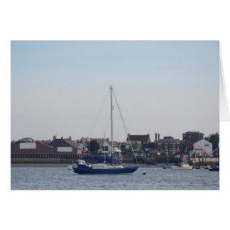 Blue Yacht On The Crouch Card