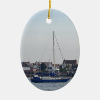 Blue Yacht On The Crouch Ceramic Ornament