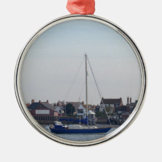 Blue Yacht On The Crouch Metal Ornament