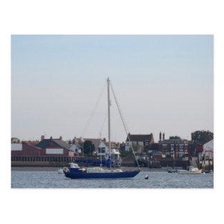 Blue Yacht On The Crouch Postcard