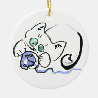Blue Yarn and White Kitten Ceramic Ornament