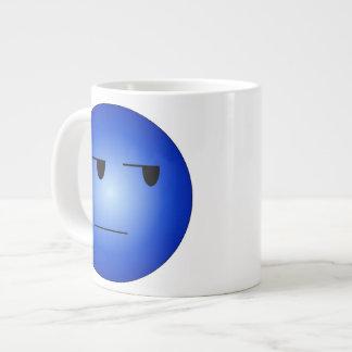 Blue Yeah Right Smiley Giant Coffee Mug