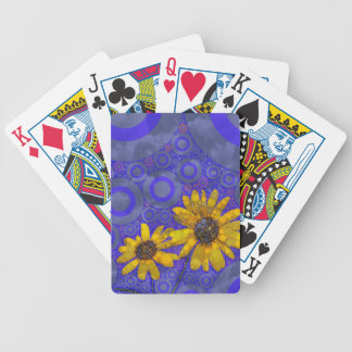 Blue Yellow Abstract Flowers Bicycle Playing Cards