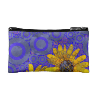 Blue Yellow Abstract Flowers Cosmetic Bag