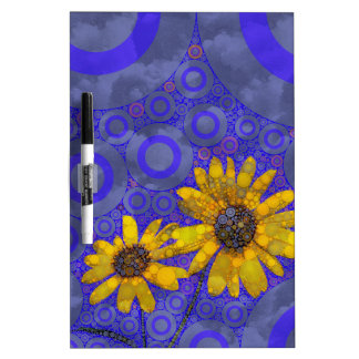 Blue Yellow Abstract Flowers Dry-Erase Board