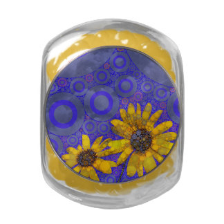 Blue Yellow Abstract Flowers Glass Candy Jar