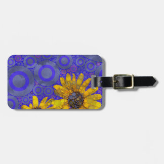Blue Yellow Abstract Flowers Luggage Tag