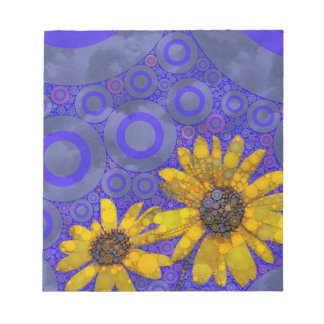 Blue Yellow Abstract Flowers Note Pad