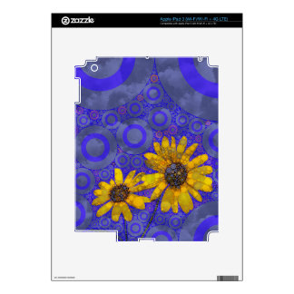 Blue Yellow Abstract Flowers Skins For iPad 3