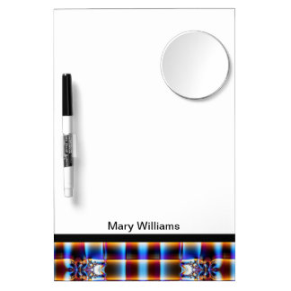 Blue yellow abstract fractal pattern dry erase board with mirror