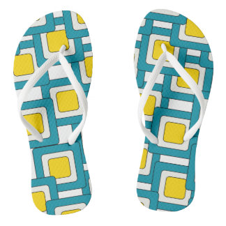 Blue Yellow Abstract Pattern Flip Flops