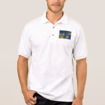 Blue & Yellow Abstract Reflections Patterned Polo Shirt
