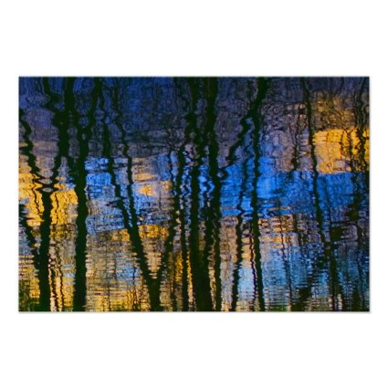 Blue & Yellow Abstract Reflections Patterned Print
