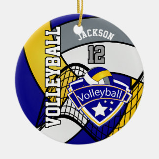 Blue, Yellow and Gray Personalize Volleyball Logo Ceramic Ornament