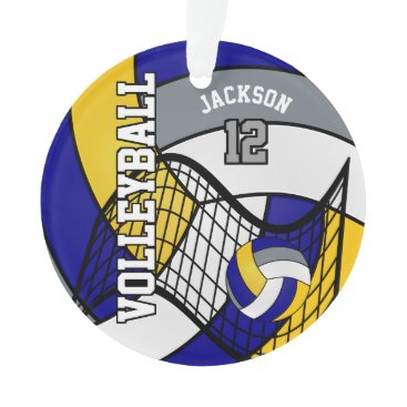 Beach Themed Blue, Yellow and Gray Volleyball Ornament