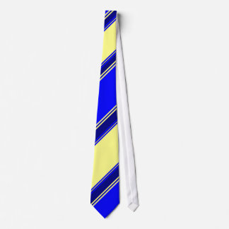 Blue Yellow and Navy Alternating Striped Tie