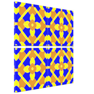 Blue Yellow And Orange Tile Pattern Canvas Print