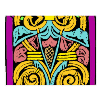 blue yellow and pink aztec design postcard