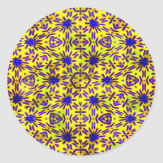 Blue Yellow and Pink pattern Design Classic Round Sticker