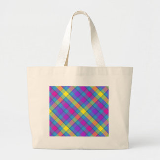 Blue yellow and pink plaid tote bags