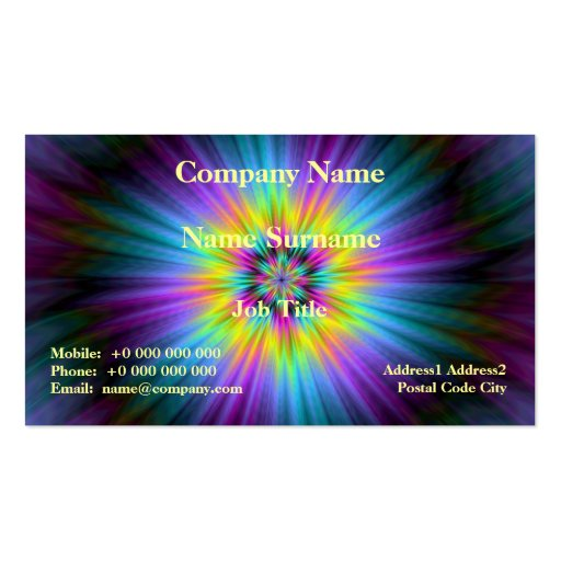 Blue Yellow and Pink Star Burst Card Business Card