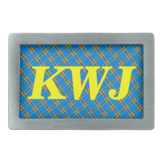 Blue Yellow And Red Plaid Gingham Fabric Design Rectangular Belt Buckle