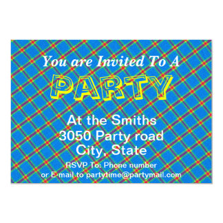 Blue Yellow And Red Plaid Gingham Fabric Design Card