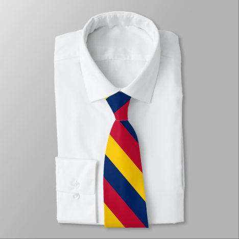 Blue Yellow and Red University Stripe Neck Tie