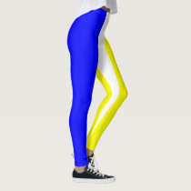 Blue Yellow and White Vertically-Striped Leggings