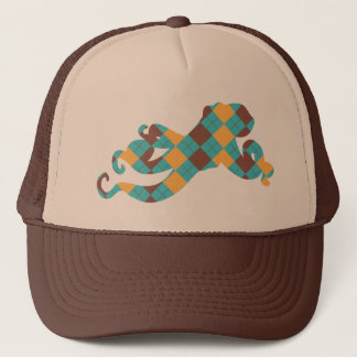 Blue & Yellow Argyle Octopus Trucker Hat