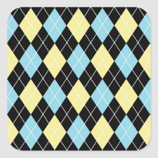 Blue & Yellow Argyle Square Sticker