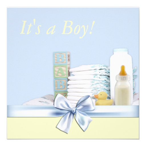 blue and yellow baby boy shower square invitation card zazzle
