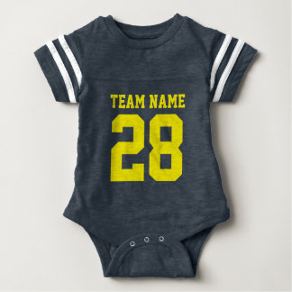 Blue Yellow Baby Football Jersey Sports Romper