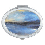 Blue Yellow Beach Abstract Compact Mirror