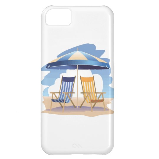 Blue & Yellow Beach Chairs & Umbrella Case For iPhone 5C